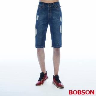 【BOBSON】男款刷破牛仔短褲(214-53)