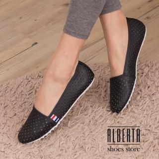 【Alberta】簡約舒適透氣洞洞皮革圓頭包鞋 嚴選豆豆鞋 懶人鞋 娃娃鞋(黑色)
