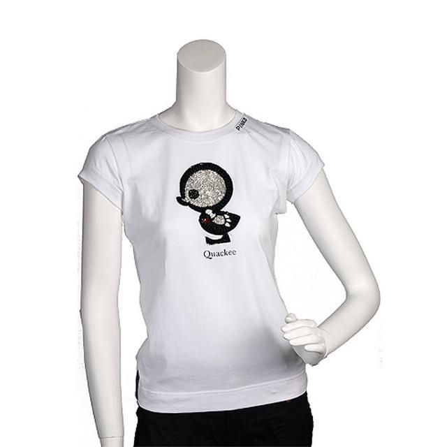 【PINKO】俏皮串珠繡縫可愛小雞造型短袖T shirt(S-白色_展示品11D0UZ bianco