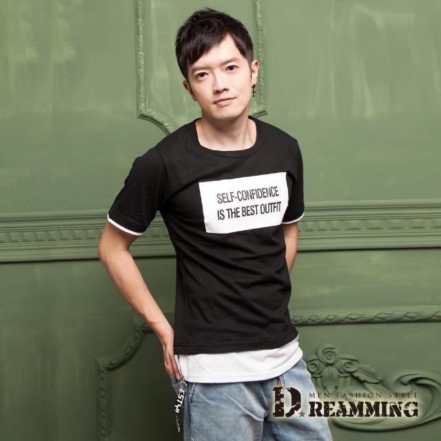 【Dreamming】韓系潮感字母假兩件長版短T(共二色)