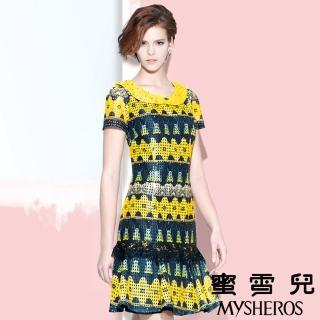 【蜜雪兒mysheros】亮彩網布蕾絲宴會洋裝(黃)