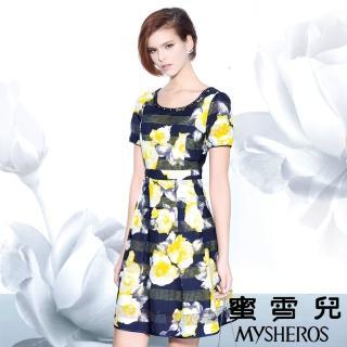 【蜜雪兒mysheros】水鑽網布印花宴會洋裝(藍)