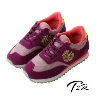 ~T2R~韓國T2R丹寧 內增高6公分休閒鞋~桃紫 5600~0224