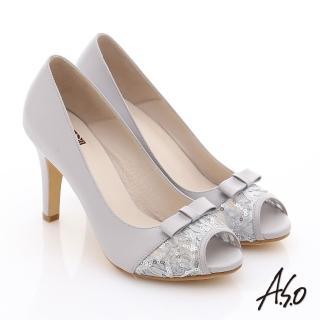 【A.S.O】法式浪漫 真皮蕾絲蝴蝶綴飾高跟魚口鞋(灰)