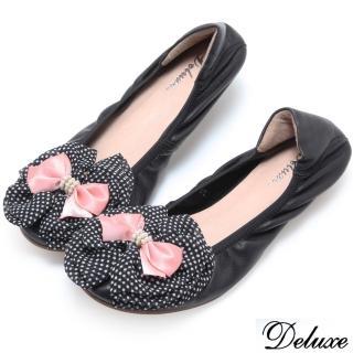 ~Deluxe~全真皮圓點絲綢雙層蝴蝶結平底包鞋^(黑^)