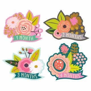 ~Lucy Darling~美國製 寶寶成長紀錄貼紙 ~ 繽紛嶄型花卉 LCSMLBLS0