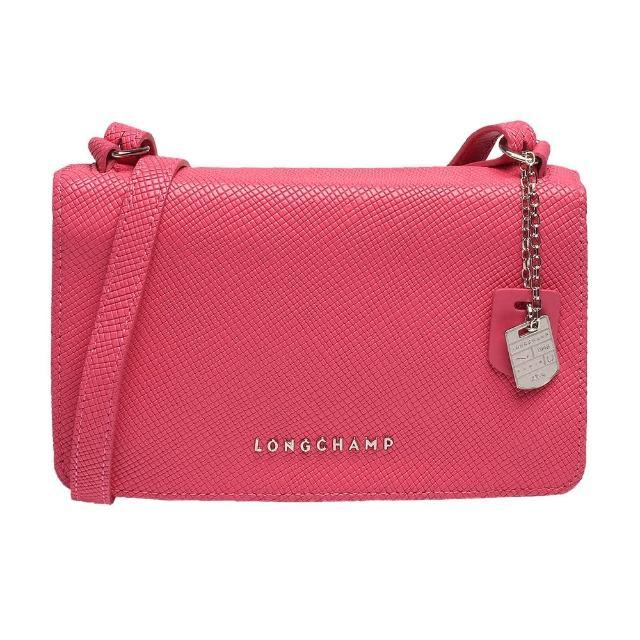 【LONGCHAMP】經典Quadri系列浮雕LOGO牛皮手拿/斜背包(粉紅色1103786-018)