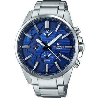 【EDIFICE】世界地圖設計鬧鈴指針錶-藍x銀(ETD-300D-2AVUDF)