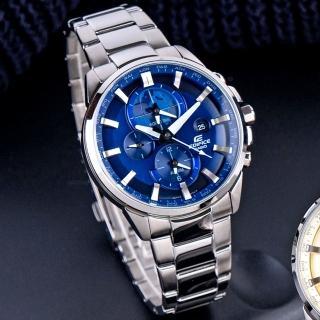 【EDIFICE】立體時刻鬧鈴指針錶-藍x銀(ETD-310D-2AVUDF)