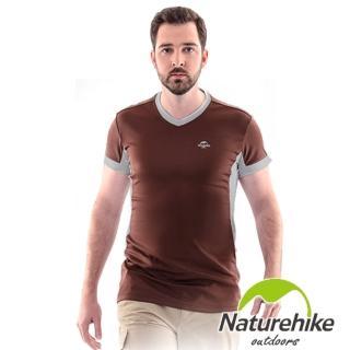 【Naturehike-NH】速乾排汗V領短袖機能服 男款(巧克力棕)