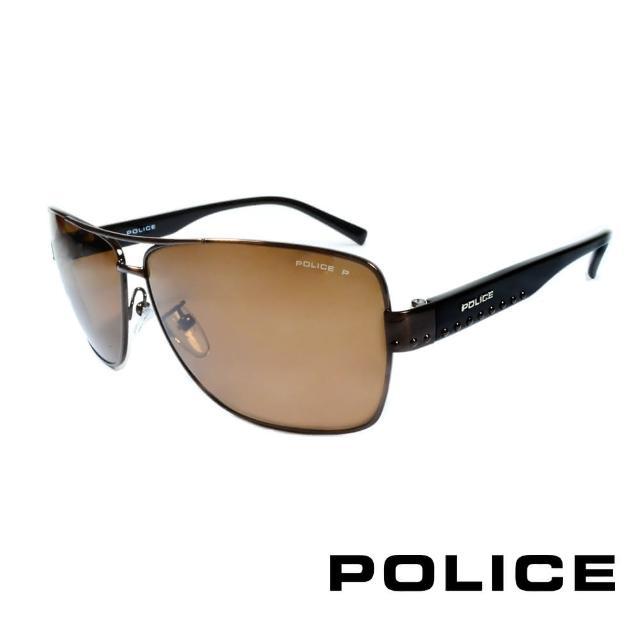 【POLICE】義大利警察都會款個性型男眼鏡-金屬框(棕黑 POS8880-K05P)