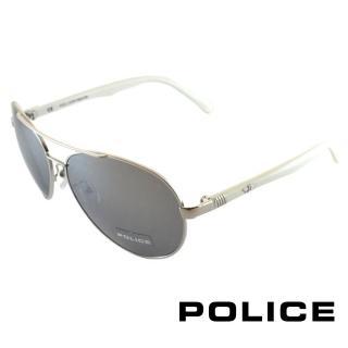 【POLICE】時尚飛行員太陽眼鏡 金屬大框面(白色 POS8640-579X)