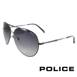 【POLICE】飛行員太陽眼鏡 金屬大框面時尚必備(黑色 POS8585-0584)