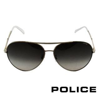 【POLICE】飛行員太陽眼鏡 金屬大框面時尚必備(金屬白 POS8585-0528)