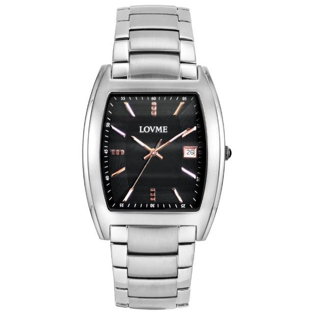 【LOVME】優雅風情酒桶造型腕錶(黑x玫/37mm)