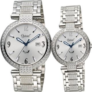 【Ogival】愛其華 風華晶鑽對錶-銀/38+30mm(3862DMW+3862DLW)