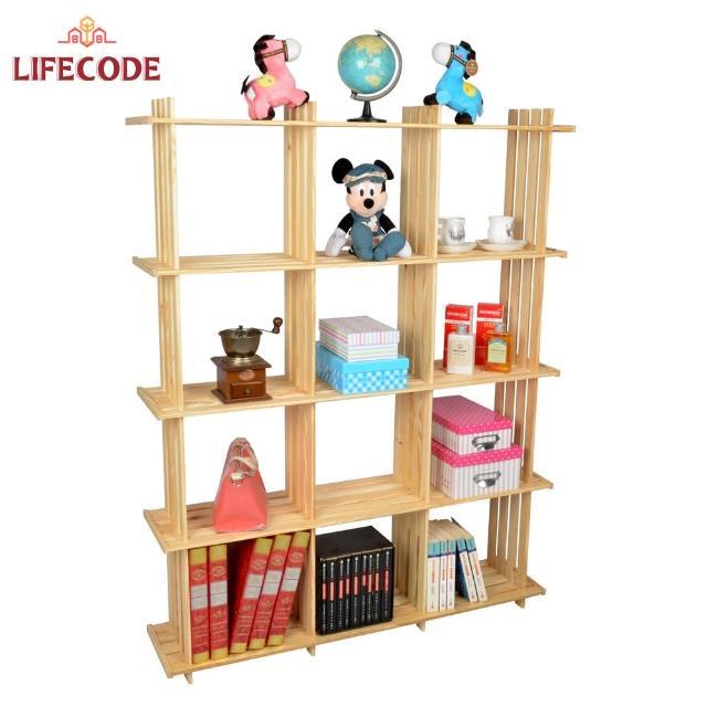 【LIFECODE】極簡風黃松木正十二格架(實木置物架/書架/花架)