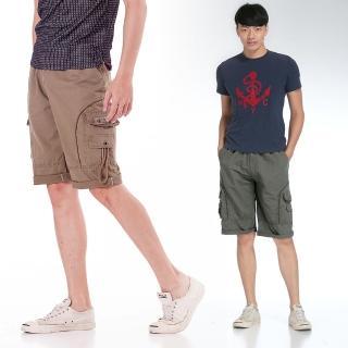 【EXPOSE】美式多口袋鬆緊工作休閒短褲(共兩色)