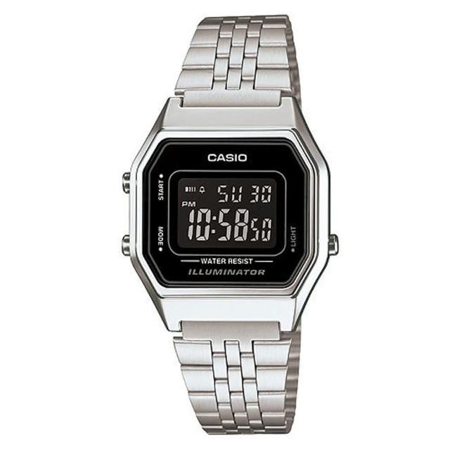 【CASIO】方格普普風數位運動錶(LA-680WA-1B)