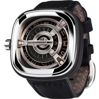 【SEVENFRIDAY】設計師工藝自動上鍊機械錶-銀x黑/47mm(M1-3)
