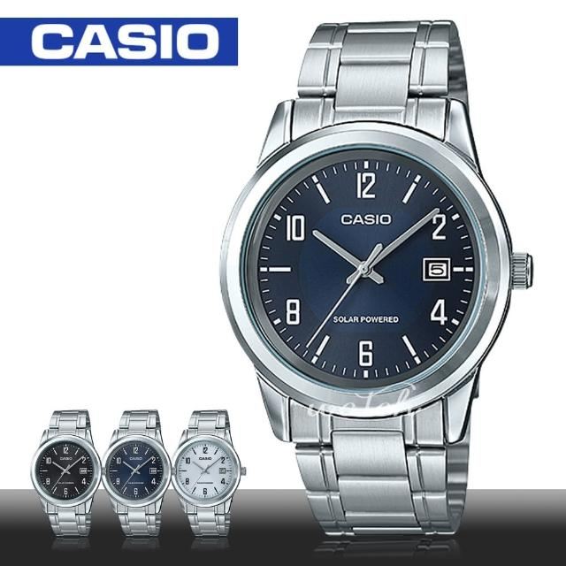 【CASIO 卡西歐】商務型錶款 簡約低調 太陽能 不鏽鋼石英男錶(MTP-VS01D)