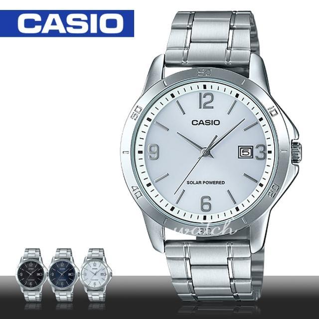 【CASIO 卡西歐】品味優雅紳士錶款 數字面太陽能 不鏽鋼石英男錶(MTP-VS02D)