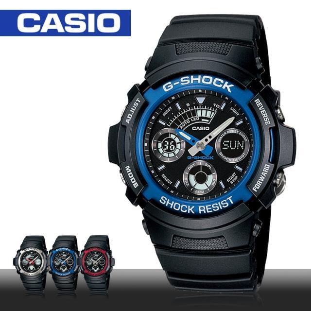 【CASIO 卡西歐 G-SHOCK 系列】三眼賽車運動雙顯錶 LED背光 防震 中性錶(AW-591)