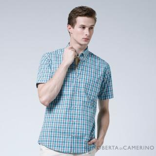 【ROBERTA諾貝達】台灣製 型男修身版 繽紛格紋短袖襯衫(淺藍)
