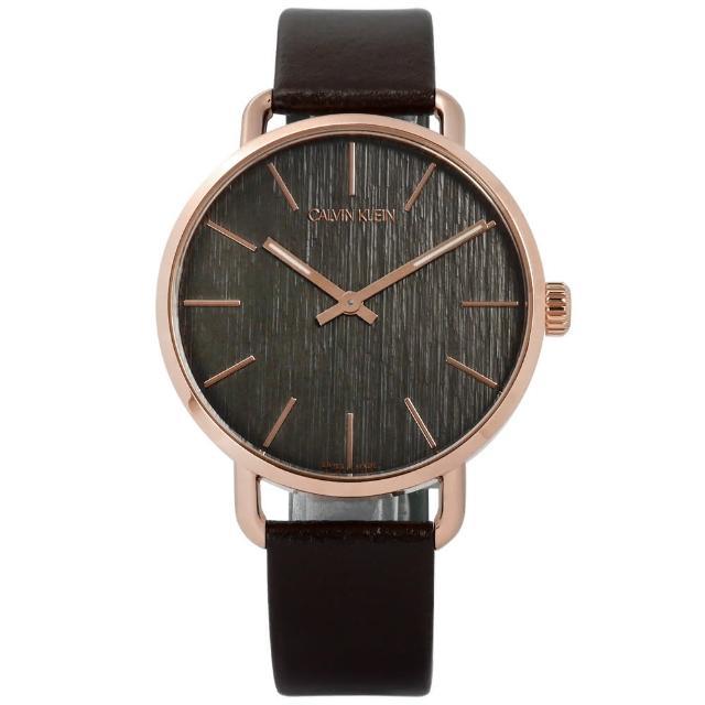 【Calvin Klein】EVEN 沉靜雅緻岩紋皮革手錶 灰x玫瑰金框x深褐 42mm(K7B216G3)