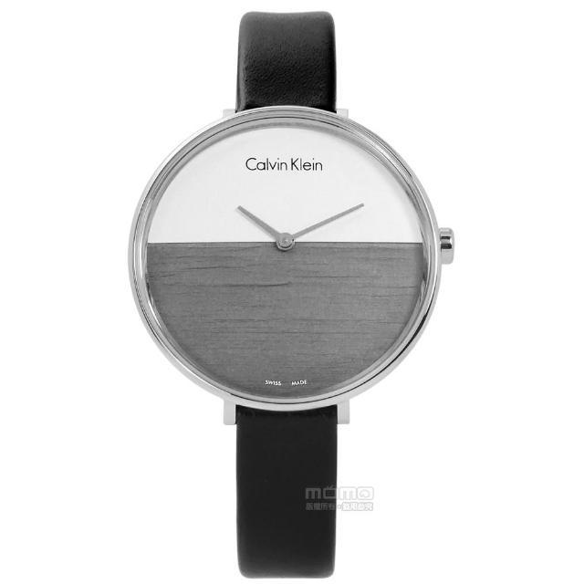 【Calvin Klein】RISE 迷人晨曦海平面木紋質感皮革手錶 白灰x黑 37mm(K7A231C3)
