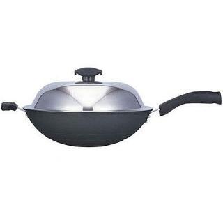 【寶馬牌】黑瓷釉不沾單把炒鍋36cm(JA-A-008-036)