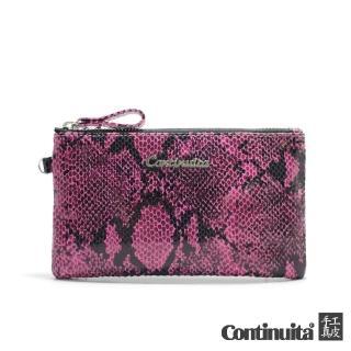 【Continuita 康緹尼】經典頭層牛皮萬用手拿包(蜥蜴紋粉紅色)