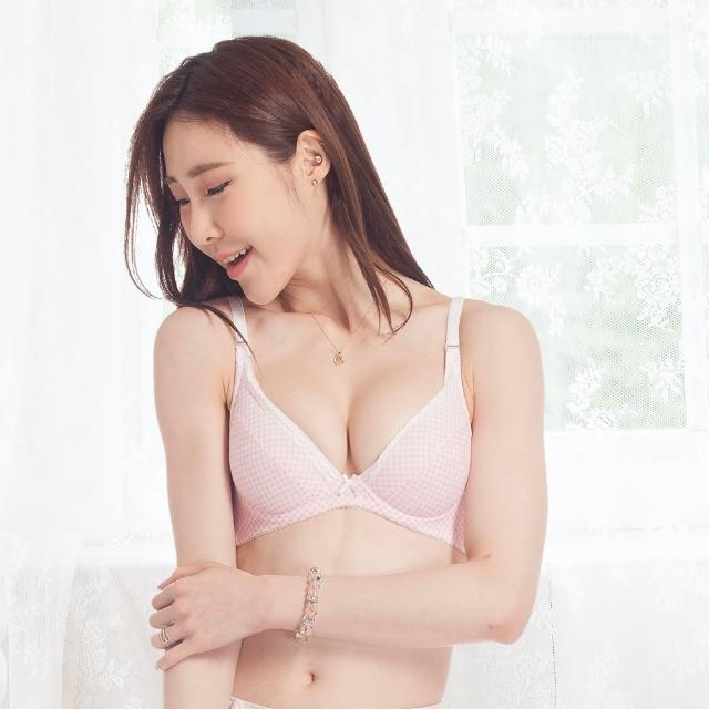 【injoi】粉嫩少女菱格紋印花深V軟鋼圈內衣