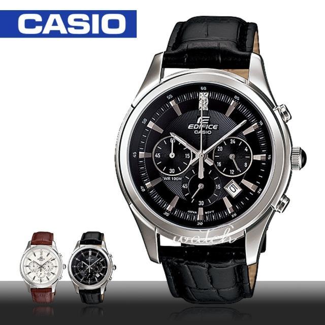 【CASIO 卡西歐 EDIFICE 系列】品味優雅紳士錶款 三眼計時 石英皮革男錶(EFR-517L)