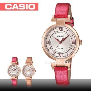 【CASIO 卡西歐】送禮首選 氣質玫瑰金 皮革石英指針 女錶(LTP-E403PL)