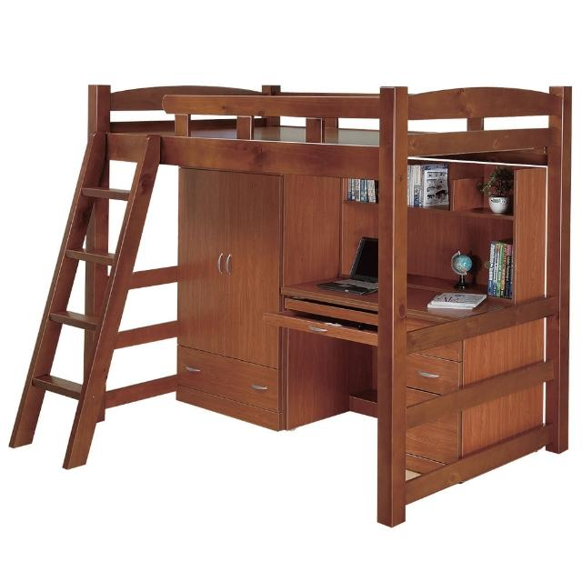 【Bernice】喬利多功能高層床組(含床架+衣櫥+書桌)