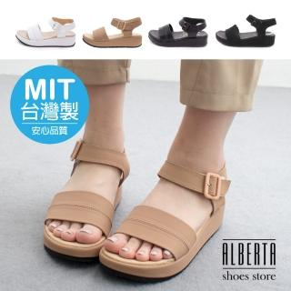 【Alberta】MIT台灣製 美式休閒 經典黑白款 一字寬 4cm厚底涼鞋(黑色)