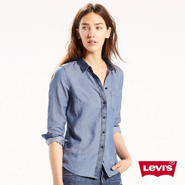 【Levis】女款拼接丹寧長袖襯衫