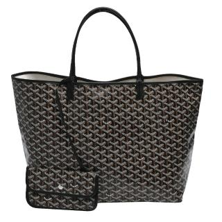 【GOYARD】St. Louis GM 防水帆布LOGO購物包(大-黑AMALOUIS-GM01-BLK)