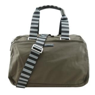 【agnes b.】霧面鐵牌雙色提把旅行袋(小/軍綠)