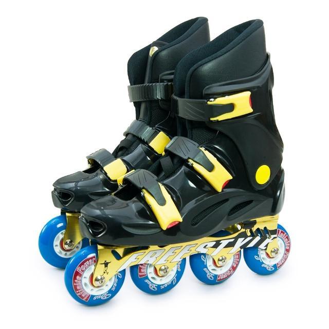 【D.L.D 多輪多】鋁合金底座 專業競速直排輪 溜冰鞋(黑黑 FS-1)