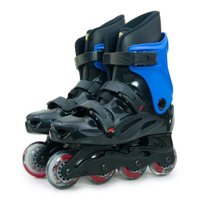 【D.L.D 多輪多】高塑鋼底座 專業直排輪 溜冰鞋(黑藍 530)