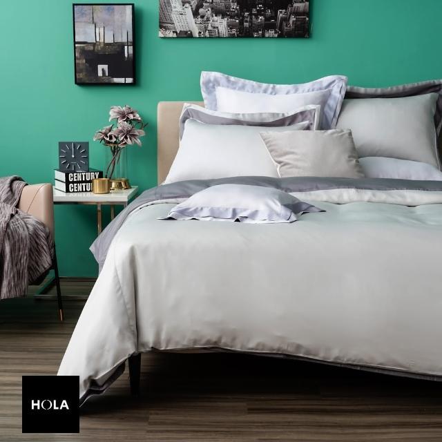 HOLA home雅緻天絲素色床包加大 霧灰色