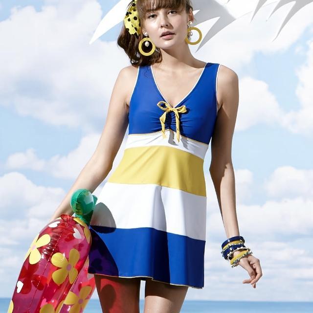 【聖手牌】V領連身裙式女泳裝(A98603)