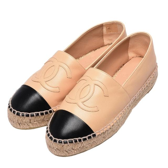 【CHANEL】經典Espadrilles小香LOGO小羊皮厚底鉛筆鞋(駝X黑29762-BEIGE-BLK)