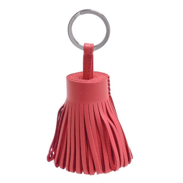 【HERMES】流蘇造形山羊皮鑰匙圈手袋吊飾(鮭粉紅H327108A-SALMON)
