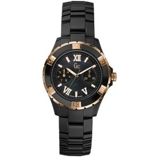 ~Gc~羅馬高雅雙眼計時陶瓷腕錶~黑x金 37mm GC~GXX69004L2S