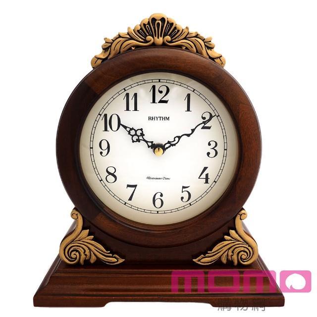 【RHYTHM日本麗聲】歐式古典雕花整點報時實木座鐘(棕色)