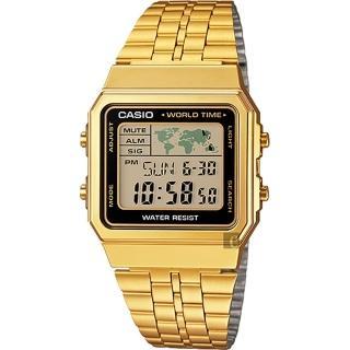 【CASIO】世界城市復古摩登不鏽鋼錶(A-500WGA-1A)