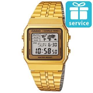 【CASIO】世界城市復古摩登不鏽鋼錶(A-500WGA-9A)